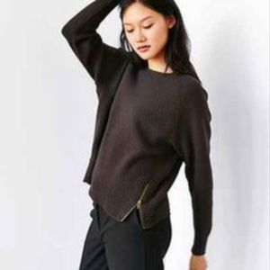 Urban Outfitters Double Zip Sweater Brown Gray
